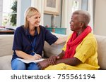 female support worker visits... | Shutterstock . vector #755561194