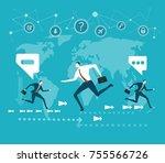 business people running in... | Shutterstock .eps vector #755566726