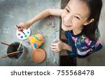 asian girl studying and...   Shutterstock . vector #755568478