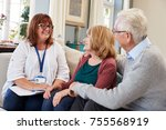 female support worker visits... | Shutterstock . vector #755568919