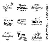 typographic thanksgiving day... | Shutterstock .eps vector #755569000