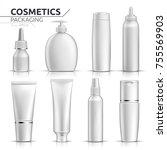 realistic cosmetic bottles mock ... | Shutterstock .eps vector #755569903