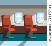 passenger seats in the cabin of ... | Shutterstock .eps vector #755577466