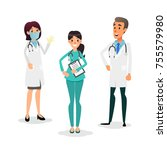 doctors and nurses team.... | Shutterstock .eps vector #755579980