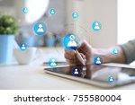 organisation structure chart ... | Shutterstock . vector #755580004