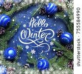 hello winter hand lettering...   Shutterstock . vector #755584990