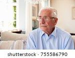 senior man sitting on sofa at... | Shutterstock . vector #755586790