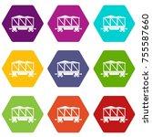 railway wagon icon set many... | Shutterstock .eps vector #755587660