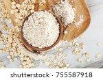 oat wholegrain flour in spoon...   Shutterstock . vector #755587918