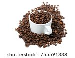 cup with coffee beans on white... | Shutterstock . vector #755591338