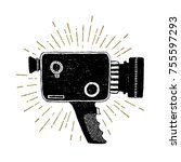 hand drawn retro camcorder... | Shutterstock .eps vector #755597293