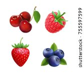 realistic berry set. strawberry ... | Shutterstock .eps vector #755597599
