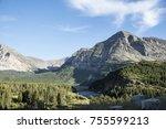 wildflowers on mountain peaks... | Shutterstock . vector #755599213