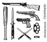 weapons set of vector design... | Shutterstock .eps vector #755599690
