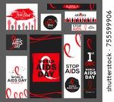 1st december world aids day... | Shutterstock .eps vector #755599906