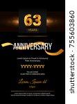 63 years golden anniversary... | Shutterstock .eps vector #755603860