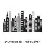 skyscrapers in a major city.... | Shutterstock .eps vector #755605954