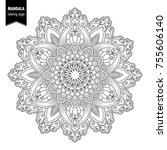 monochrome ethnic mandala... | Shutterstock .eps vector #755606140