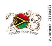 2018 happy new year vanuatu... | Shutterstock .eps vector #755606536