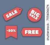 flat design sale stickers....   Shutterstock .eps vector #755606674