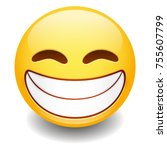 grin expression emoji smiley... | Shutterstock .eps vector #755607799