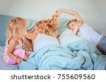 children wake up to large... | Shutterstock . vector #755609560