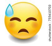 sweat tear expression emoji...   Shutterstock .eps vector #755610703