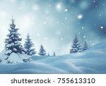 christmas background with fir...   Shutterstock . vector #755613310