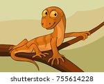 lizard on a branch  vector...   Shutterstock .eps vector #755614228
