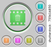 delete movie color icons on... | Shutterstock .eps vector #755616850