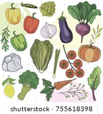 set of hand drawn vegetables.... | Shutterstock .eps vector #755618398