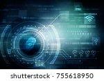 fingerprint scanning technology ...   Shutterstock . vector #755618950