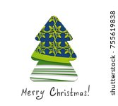 paper christmas tree on the... | Shutterstock .eps vector #755619838