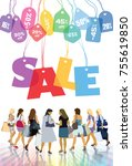 sale. group of shopping women... | Shutterstock .eps vector #755619850