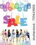 sale. group of shopping women... | Shutterstock .eps vector #755619850