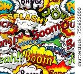 comics speech bubbles seamless...   Shutterstock . vector #755623000
