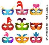 mardi gras venetian handmade...   Shutterstock . vector #755623018