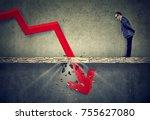 curious worried business man... | Shutterstock . vector #755627080