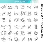 restroom  bathroom icon set.... | Shutterstock .eps vector #755629648
