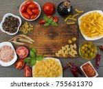 italian pasta on a wooden table.... | Shutterstock . vector #755631370