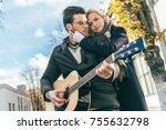beautiful young woman hugging... | Shutterstock . vector #755632798