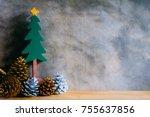 a green handicraft wooden... | Shutterstock . vector #755637856