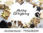 chrismas gold tone decoration...   Shutterstock . vector #755638204