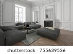 loft conversion with classic... | Shutterstock . vector #755639536