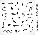 hand drawn arrows  vector set | Shutterstock .eps vector #755639590
