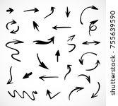 hand drawn arrows  vector set | Shutterstock .eps vector #755639590