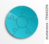 puzzle five piece business... | Shutterstock .eps vector #755642296