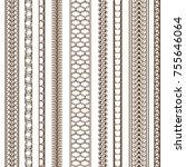 set of 9 seamless borders | Shutterstock .eps vector #755646064