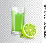 shiny glass of lime juice in... | Shutterstock .eps vector #755648938