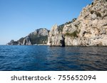 view from the boat on the cliff ... | Shutterstock . vector #755652094